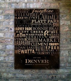 Denver Colorado Streets typography original graphic illustration on canvas 18 x 24 by stephen fowler. $179.00, via Etsy.