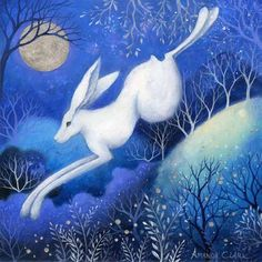 The Leaping Hare - Original acrylic painting by Amanda Clark
