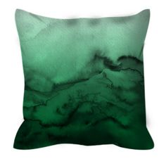 WINTER WAVES 7 Green Ombre Watercolor Art Suede Decorative Throw Pillow Cushion Cover by EbiEmporium #pillow #pillowcover #ombre #green #homedecor #dorm #moderndecor