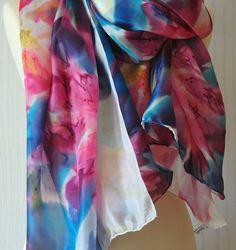 Scarfs, Tie Dye Skirt, Natural, Fashion, Red, Blue Nails, Silk, Elegant, Moda