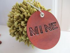 MINE  Leather Tag  Luggage  Key Chain by JEDStudio on Etsy, $15.00