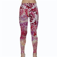 "Fall Flowers Yoga Leggings Womens   - ""Warm Waves"" bohemian festival hippie burner namaste nature floral autumn by Pajamasquid on Etsy"