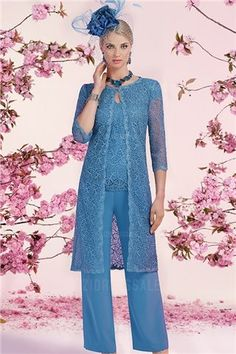Pant Suits Jewel Knee-length Lace Mother of the Bride Dress