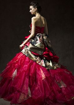 和ドレス Ball Dresses, Nice Dresses, Ball Gowns, Formal Dresses, Japanese Wedding, Kimono Dress, Wedding Gowns, Cosplay, Skirts