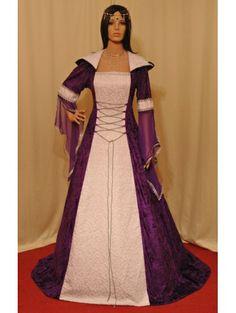 Purple and White Velvet Fancy Medieval Hooded Dress - Devilnight.co.uk