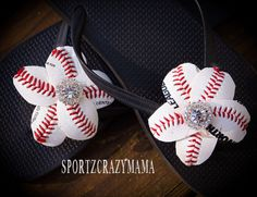 Baseball Flower Flip Flop Bling by SportzCrazyMama on Etsy, $28.00
