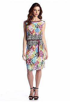 Maggy London Cap-Sleeve Printed Blouson Dress