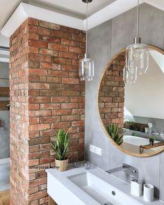 future home design Basement Remodel Diy, Basement Remodeling, Brick Bathroom, Small Bathroom, House Extension Design, House Design, Bathroom Inspiration, Home Decor Inspiration, Model House Plan