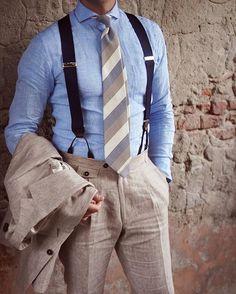 Suit Style for Men, Mens Suits mens relaxed suits Linen Suits For Men, Best Suits For Men, Cool Suits, Blue Linen Suit, Costume En Lin, Mode Costume, Gentleman Mode, Gentleman Style, Mens Fashion Suits