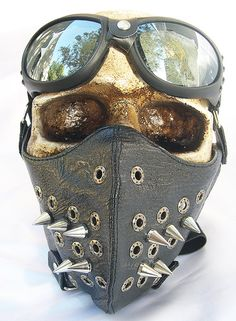 2 pc set of Black Faux Cracked Leather Eyelet & Long Metal Spikes Steampunk Dust Riding MASK with Matching GOGGLES - A Burning Man Must Have