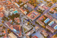 The center of the city of Smederevo with the square and streets in the part of the pedestrian zone.