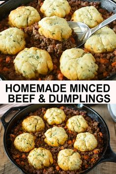 Homemade Minced Beef and Dumplings are the best British comfort food. A hearty meal served hot and bubbly to warm you from the inside out and its all made in one pan. Minced Beef Recipes Easy, Ground Beef Recipes, Mince Dishes, Beef Dishes, Savoury Dishes, Slow Cooker Recipes, Cooking Recipes, English Food Recipes, Slow Cooker Mince