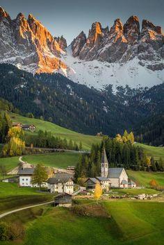 In picturesque Santa Magdelana, Funes Valley, Italy.