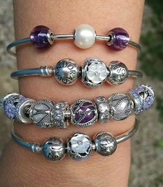 Pearl and Mother-of-pearl beads just glow in this stack.  #pandora…