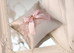 dusty rose lace and gray atlas ring bearer pillow, dusty rose ring bearer, dusty rose wedding ring pillow, dusty pink wedding ring pillow Dusty Pink Weddings, Dusty Rose Wedding, Ring Bearer Pillows, Ring Pillows, Ring Pillow Wedding, Wedding Pillows, Rose Wedding Rings, Rosa Rose, Lace Ring