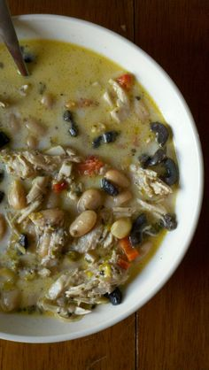 Spicy Chicken Soup with Pesto & Olives...