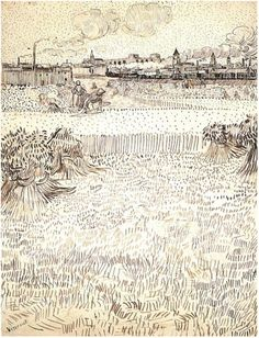 Vincent van Gogh's Wheat Field with Sheaves and Arles in the Background Drawing 123  Vincent van Gogh Drawing, Pencil, reed pen and brown ink on wove paper Arles: July 31 - August 6, 1888