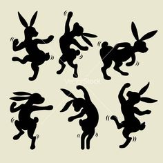 Dancing rabbit silhouette vector 1129754 - by cundrawan703 on VectorStock�