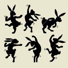 Dancing rabbit silhouette vector 1129754 - by cundrawan703 on VectorStock�