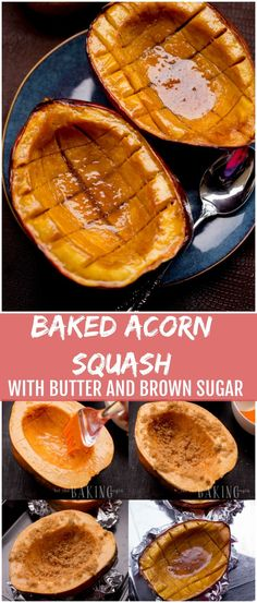 Baked Acorn Squash with Brown Sugar and Butter is one of our favorite fall treat :::{Eat Dessert First! Acorn Squash Brown Sugar Recipe, Butter Squash Recipe, Recipe For Roasted Acorn Squash, Acorn Squash Roasted, Pumpkin Squash, Baked Squash, Acorn Squash Recipes Healthy, Pureed Food Recipes, Veggie Recipes