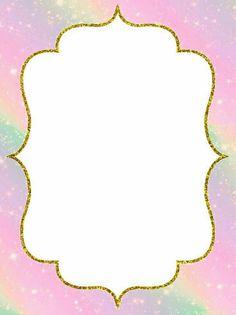 Rainbow Birthday Invitations, Frozen Invitations, Unicorn Invitations, Baby Invitations, Backgrounds Girly, Barbie Birthday Party, Printable Frames, Flower Background Wallpaper, Baby Frame