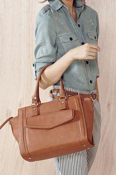 Medium satchel bag with front pocket in cognac