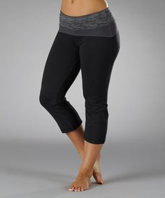 Take a look at this Black & Carbon Contoured Capri Pants by Marika on #zulily today!