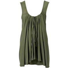 Double Draped Tunic ($15) ❤ liked on Polyvore featuring tops, tanks, shirts, tank tops, green, women, drapey top, relax shirt, cotton shirts and relaxed fit shirt