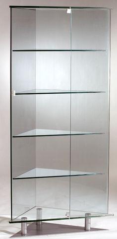 High Quality All Glass Triangular Curio Cabinet W/Shelves