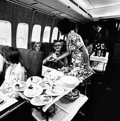Qantas Boeing 747-238B VH-EBA. - the meal service to First Class passengers…