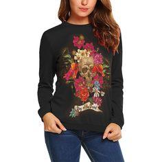 Bouquet Skull Printed Women's Sweatshirt