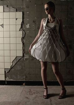 3D Honeycomb Dress - sculptural fashion; wearable art // Winde Rienstra