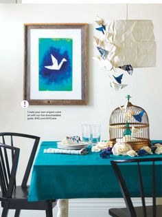 #DIY #magazine  #diningroom #turquoise #table #diningroom #table #birdcage #birds #decoration #style #interiordecoration #interior #chairs #blue