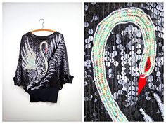 Swan Sequin Art Deco Batwing Top / Fully Embellished by braxae