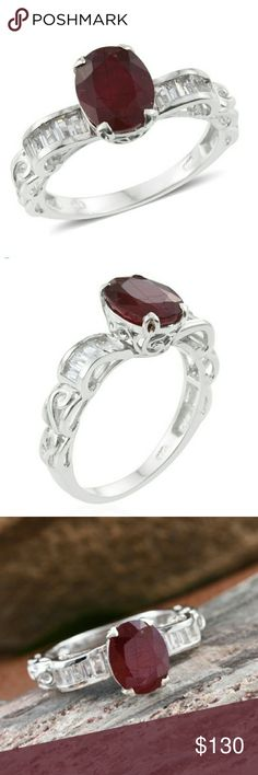 ❤NATURAL RUBY RING❤ ❤BLOOD RED NATURAL RUBY❤ SPARKLING 💎WHITE TOPAZ💎 SIZE 8 RING. SIDE VIEW IS RIBBONS THAT FORM A 🎀 BOW 🎀. PLATINUM OVER 925 STERLING SILVER. TGW 4.95 cts.          ⏳AVAILABLE FOR ONE WEEK ONLY⌛ Jewelry Rings