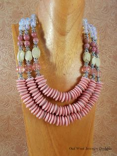 Chunky Triple Strand Necklace Set  Handcrafted African Pink