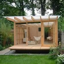 Garden Shed Design Backyard Office Ideas Shed Office, Backyard Office, Backyard Studio, Garden Office, Cozy Backyard, Outdoor Office, Backyard Retreat, Modern Backyard, Zen Home Office