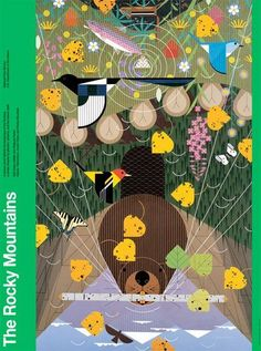 Charley Harper posters highlights the ecosystems of different national parks, for the U.S. Department of Interiors.