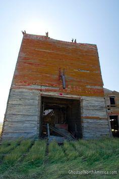 Grain elevator in the ghost town of Okaton, South Dakota
