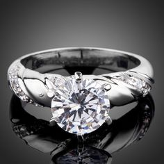 Rhodium Plated Round Cut Cubic Zirconia Engagement Ring #jewelryvo #jewelry #rings #engagement