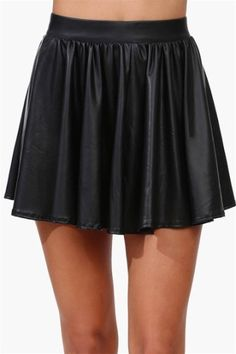 I BELIEVE THIS IS FAUX LEATHER, BUT IT'S STILL PRETTY.......Skater Girl Leather Mini Skirt - Black