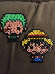 Luffy and Zoro - One Piece hama beads by AmeNoTenshi