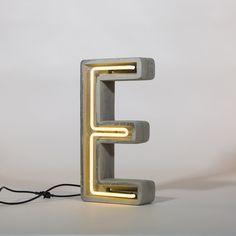 Alphacrete E - neon light in cement Plywood Furniture, Garage Furniture, Concrete Furniture, Cement Art, Concrete Crafts, Concrete Projects, Concrete Table, Concrete Cement, Concrete Design