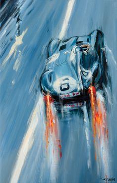 Indianapolis,Le Mans – Acryl auf Leinwand/Acrylic on canvas – Größe/size Indianapolis, Le Mans – Acrylic on canvas / Acrylic on canvas – Size / size 90 / – Price on request / Price upon request Le Mans, Car Art, Art Cars, Vintage Racing, Vintage Cars, Indiana, Jaguar Type E, Le Gui, Mobile Art