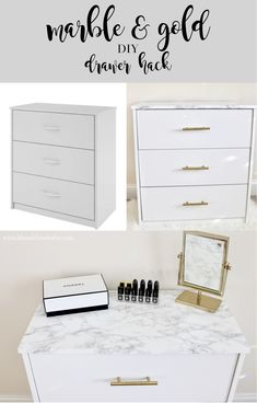 Marble Gold Drawer Diy Marble Gold Drawer Diy Marble And Gold Mainstays Drawer Set Diy Hack Marble And Gold Drawer Hack Diy Marble Furniture, Retro Furniture, Furniture Projects, Furniture Makeover, Diy Furniture, Furniture Stores, Marble Desk, Furniture Removal, Gold Marble