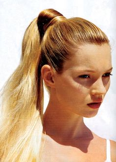 Kate Moss' high fashion pony in Vogue US, June 1996