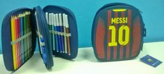Plumier de FC Barcelona de personajes diferentes 34pcs (Messi, Xavi, Neymar Jr, Pique, Iniesta...)