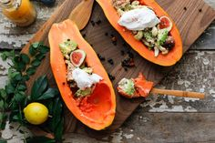 Nutrition Stripped | Beachy Papaya Boats with Papaya Seed Drizzle | http://www.nutritionstripped.com
