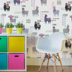Fun Children's Wallpaper Animal Llama Print | CROWN DRAMA LLAMA FEATURE WALL WALLPAPER IN PINK/BLUE | Shop Online