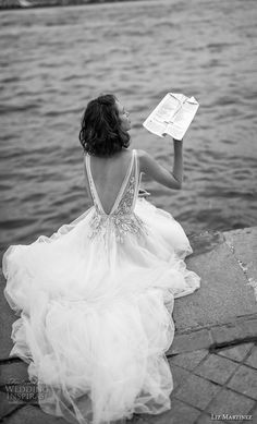 liz martinez 2019 bridal sleeveless deep plunging v neck heavily embellished bodice romantic soft a line wedding dress open v back chapel train (10) bv